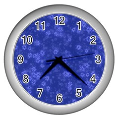 Snow Stars Blue Wall Clocks (silver)  by ImpressiveMoments