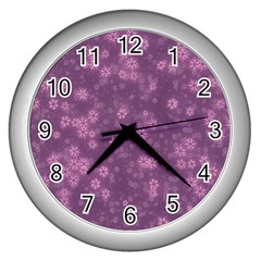 Snow Stars Lilac Wall Clocks (silver)  by ImpressiveMoments