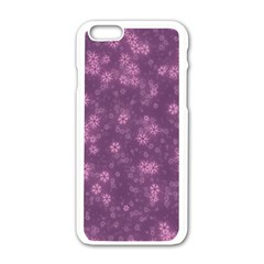 Snow Stars Lilac Apple Iphone 6/6s White Enamel Case by ImpressiveMoments