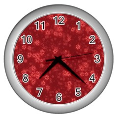 Snow Stars Red Wall Clocks (silver)  by ImpressiveMoments