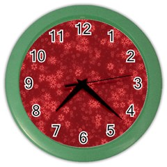 Snow Stars Red Color Wall Clocks by ImpressiveMoments