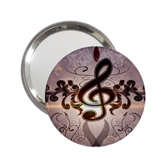Music, Wonderful Clef With Floral Elements 2 25  Handbag Mirrors by FantasyWorld7