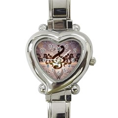 Music, Wonderful Clef With Floral Elements Heart Italian Charm Watch by FantasyWorld7
