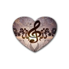 Music, Wonderful Clef With Floral Elements Rubber Coaster (heart)  by FantasyWorld7