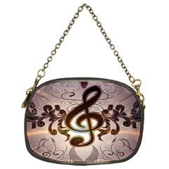 Music, Wonderful Clef With Floral Elements Chain Purses (two Sides)  by FantasyWorld7