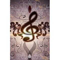 Music, Wonderful Clef With Floral Elements 5 5  X 8 5  Notebooks