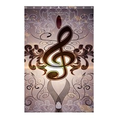 Music, Wonderful Clef With Floral Elements Shower Curtain 48  X 72  (small)