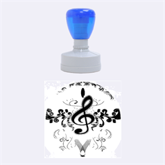 Music, Wonderful Clef With Floral Elements Rubber Round Stamps (medium) by FantasyWorld7