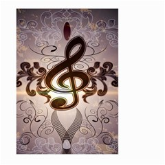 Music, Wonderful Clef With Floral Elements Large Garden Flag (two Sides)