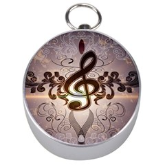 Music, Wonderful Clef With Floral Elements Silver Compasses by FantasyWorld7
