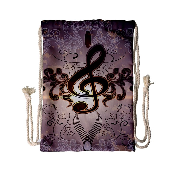 Music, Wonderful Clef With Floral Elements Drawstring Bag (Small)