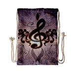 Music, Wonderful Clef With Floral Elements Drawstring Bag (Small) Back