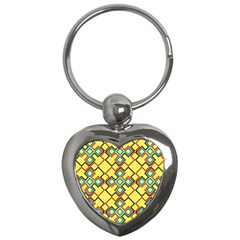 Shapes On A Yellow Background Key Chain (heart) by LalyLauraFLM