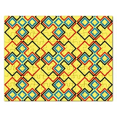 Shapes On A Yellow Background Jigsaw Puzzle (rectangular) by LalyLauraFLM