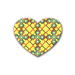 Shapes On A Yellow Background Heart Coaster (4 Pack) by LalyLauraFLM