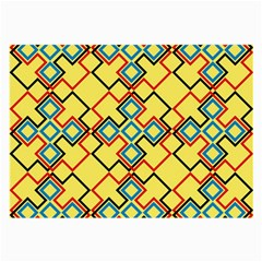 Shapes On A Yellow Background Large Glasses Cloth by LalyLauraFLM