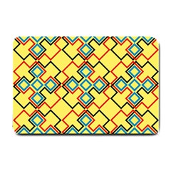 Shapes On A Yellow Background Small Doormat by LalyLauraFLM