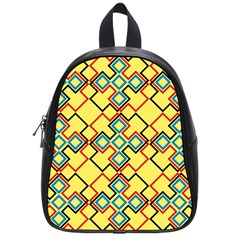 Shapes On A Yellow Background School Bag (small) by LalyLauraFLM