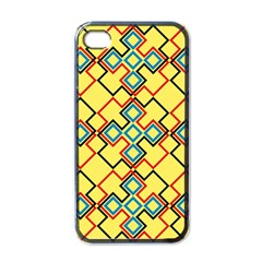 Shapes On A Yellow Background Apple Iphone 4 Case (black) by LalyLauraFLM