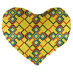 Shapes On A Yellow Background Large 19  Premium Heart Shape Cushion by LalyLauraFLM