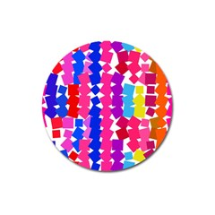 Colorful Squares Magnet 3  (round) by LalyLauraFLM