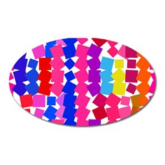 Colorful Squares Magnet (oval) by LalyLauraFLM