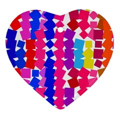 Colorful Squares Heart Ornament (two Sides)