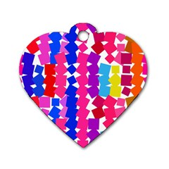 Colorful Squares Dog Tag Heart (one Side) by LalyLauraFLM