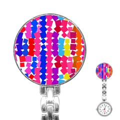 Colorful Squares Stainless Steel Nurses Watch by LalyLauraFLM
