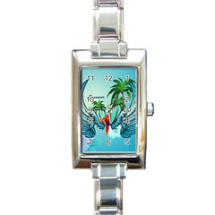 Summer Design With Cute Parrot And Palms Rectangle Italian Charm Watches by FantasyWorld7