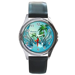 Summer Design With Cute Parrot And Palms Round Metal Watches