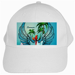 Summer Design With Cute Parrot And Palms White Cap