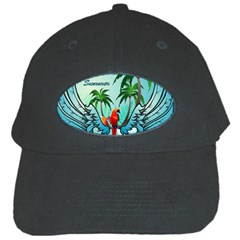 Summer Design With Cute Parrot And Palms Black Cap