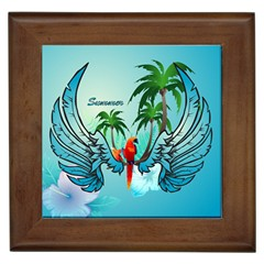 Summer Design With Cute Parrot And Palms Framed Tiles