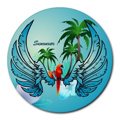 Summer Design With Cute Parrot And Palms Round Mousepads