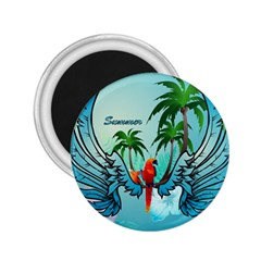 Summer Design With Cute Parrot And Palms 2 25  Magnets