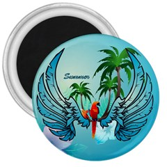 Summer Design With Cute Parrot And Palms 3  Magnets