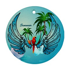 Summer Design With Cute Parrot And Palms Ornament (round)