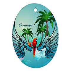 Summer Design With Cute Parrot And Palms Ornament (oval)