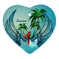 Summer Design With Cute Parrot And Palms Ornament (heart)