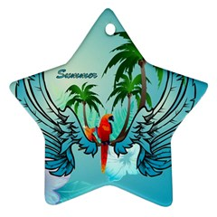 Summer Design With Cute Parrot And Palms Ornament (star)