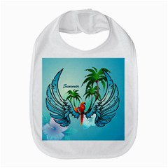 Summer Design With Cute Parrot And Palms Bib