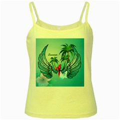 Summer Design With Cute Parrot And Palms Yellow Spaghetti Tanks