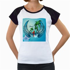 Summer Design With Cute Parrot And Palms Women s Cap Sleeve T