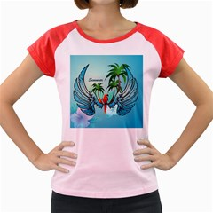 Summer Design With Cute Parrot And Palms Women s Cap Sleeve T Shirt