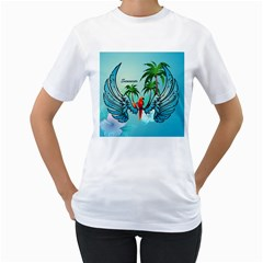 Summer Design With Cute Parrot And Palms Women s T Shirt (white) (two Sided)