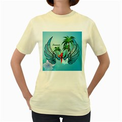 Summer Design With Cute Parrot And Palms Women s Yellow T Shirt