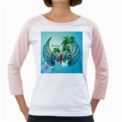 Summer Design With Cute Parrot And Palms Girly Raglans