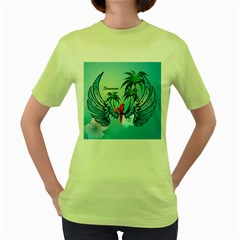 Summer Design With Cute Parrot And Palms Women s Green T Shirt