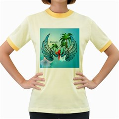 Summer Design With Cute Parrot And Palms Women s Fitted Ringer T Shirts